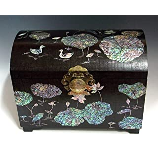Mother of Pearl Luxury Large Handmade Lacquered Duck in Lotus Pond Design Asian Big Brown Wooden Jewellery Trinket Keepsake Treasure Box Ring Watch Case Chest Organizer