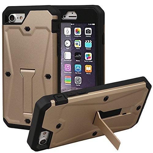 """Coque pour iPhone 7, xhorizon TM Housse de soutien solide à double couche antidérapant protection à 360 degrés avec la verre trempé plastique dur pour iPhone 7 [4.7""""] Or"""