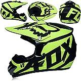 Alvyu Off-Road Motorrad Racing Helm, Vollgesichtsdämpfung Durable Motorsport Helm, MX ATV Motorradhelm für Junge Mädchen,Green,L