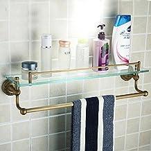 XAH@ Antico bagno di rame asciugamano rack bagno vetro tavolo da toeletta monostrato con cremagliere di rod