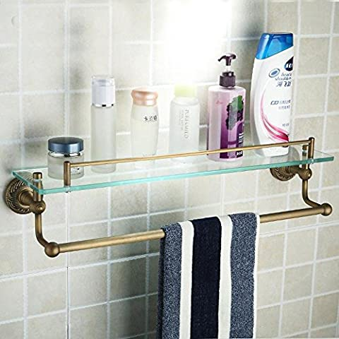 XAH@ Antique copper bathroom Towel rack bathroom glass dressing table single-layer with rod racks