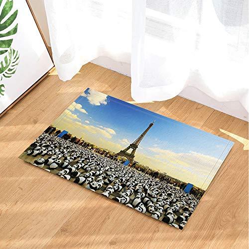 Badteppich rutschfeste Türmatte Wohnzimmer Kinderteppich Badezimmerzubehör 40x60cm des Tierdekorationpanda Paris Frankreich ()