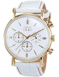 Cerruti 1881 TREMEZZO CRA110SG01WH - Reloj para hombres, correa de cuero color blanco