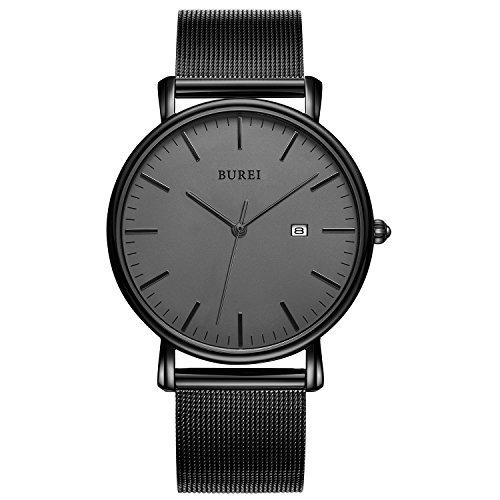 BUREI Stilvolle Minimalistische Ultra Slim Herren Uhr Schwarz Datum Großes Gesicht Armbanduhr mit Mesh Milanese Armband und Dunkelgrau Zifferblatt (Dunkelgrau-Schwarz)