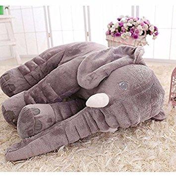 Peluche Zooarts con forma de elefante y trompa larga, para dormir, para bebés, suave, cojín lumbar