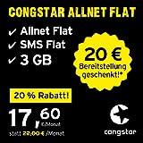 congstar Allnet Flat, SIM, Micro-SIM und Nano-SIM, monatlich kündbar (17,60 Euro/Monat, 4 GB Datenflat mit max. 25 Mbit/s, Allnet Flat und SMS Flat) in bester D-Netz-Qualität