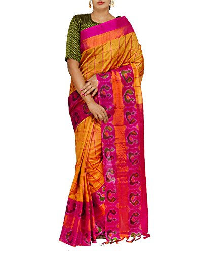Unnati Silks Women Golden Yellow Handloom Pochampally Ikat Kuppadam Silk Cotton Pattu...