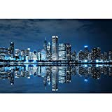 Pitaara Box PB Chicago Downtown at Night, USA Peel & Stick Vinyl Wall Sticker 30 x 20inch