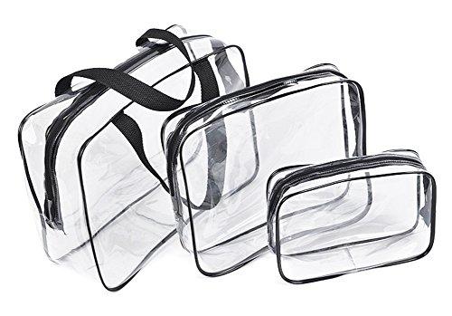 Fortuning's JDS Sac cosmétiques simple en sac à main en PVC sac à toilette transparent avec eau claire pour Voyage 3pcs / set