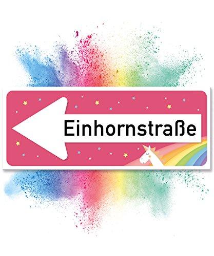 *Einhhorn Schild – Einhornstraße (40 x 15cm) | Süße Wand-Deko, Türschild für Mädels-Wohnung & Mädchen-Zimmer | Geschenkidee Einweihungsparty & Geburtstags-Geschenk | Lustige Überraschung – beste Freundin*