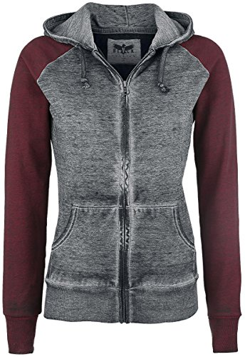 Black Premium by EMP Burnout Zipper Felpa jogging donna grigio scuro/bordeaux XXL