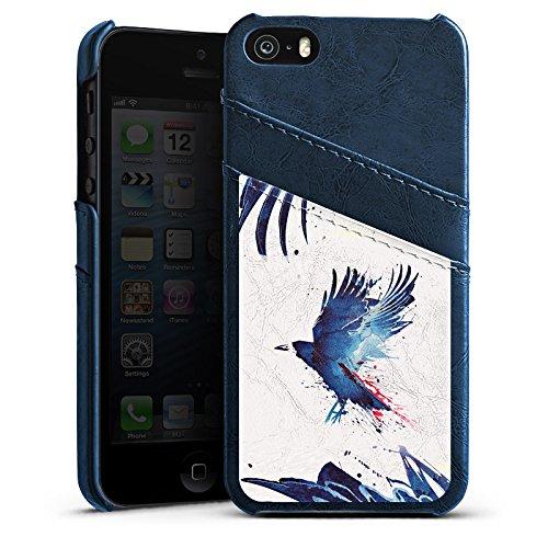 Apple iPhone 4 Housse Étui Silicone Coque Protection Oiseau Art Corbeau Étui en cuir bleu marine
