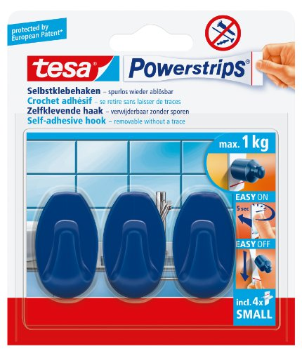 tesa-hooks-oval-blue-with-self-adhesive-and-removable-powerstrips-small-3-hooks