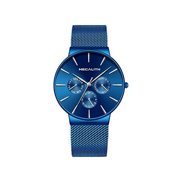 68f56b314a87 ... Montre Homme Acier Inoxydable Montre Bracelet à Quartz Analogique  Etanche Luxe Mode Date Calendrier Design Simple
