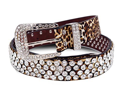 Nanxson Mujer Leopardo Bling Diamante de imitación Tachonado Vaquera occidental Cinturón PDW0187 (L, Leopardo)