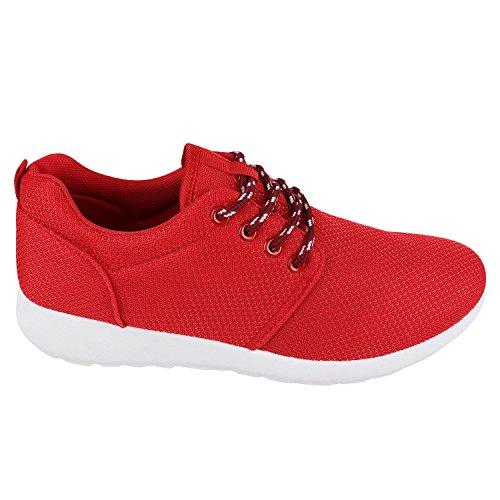 Modische Herren Sportschuhe | Freizeit Sneaker Snake | Laufschuhe Runners Trainers | Sneakers Schuhe Rot Weiss Rot