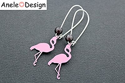 Boucles d'oreilles Flamants Roses - Tropical Summer rose argenté noir