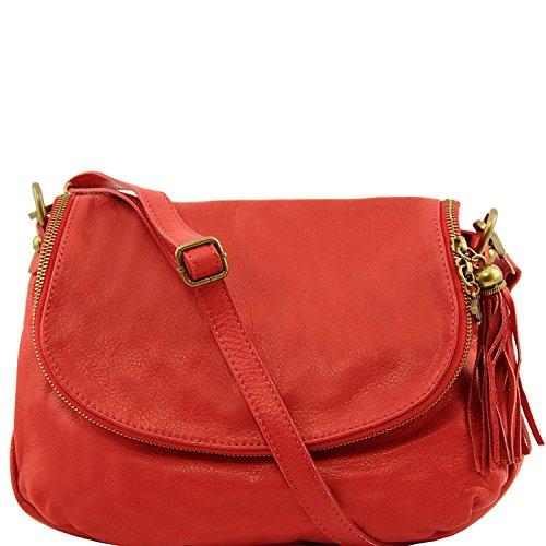Tuscany Leather - TL Bag - Borsa morbida a tracolla con nappa Blu scuro - TL141223/107 Rosso