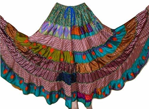 GREEN TONES - 7 to 9 Yard Tribal Gypsy Maxi Tiered Skirt Gonne con danza del ventre Banchino misto seta S M L 9