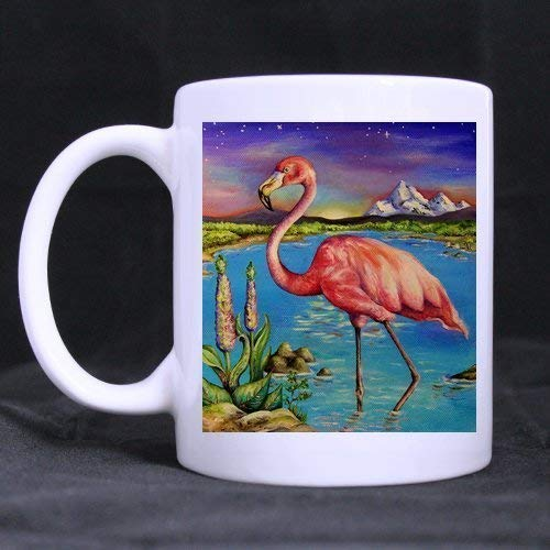 Strong Stability Durable Coffee Mug Christmas/New Year Gifts Beautiful Flamingo Tea Or Coffee Or Wine Cup 100% Ceramic 11-Ounce White Mug Becher Classic White Wine
