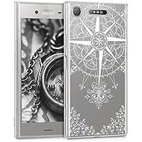 kwmobile Funda para Sony Xperia XZ1 - Carcasa de [TPU] para móvil y diseño de Rosa de los Vientos en [Blanco/Transparente]