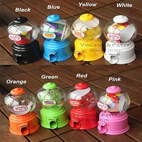 JohnJohnsen Plástico Mini máquina de Caramelo Bubble Gumball Dispensador Moneda Banco Juguete Infantil para Gumballs Cacahuetes Caramelo y bocadillos pequeños (Amarillo)
