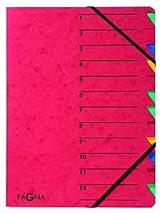 Pagna 24131-01 Ordnungsmappe Easy, Pressspan, A4, 12 Fächer, buntes Register, Einband rot