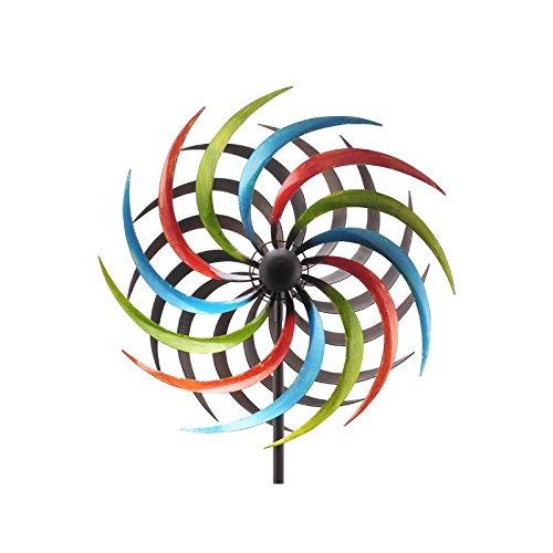 L'Héritier Du Temps Grand Mobile Pic Tuteur de Jardin Eolienne Moulin à Vent Double Hélices en Fer Coloré 38x38x180cm