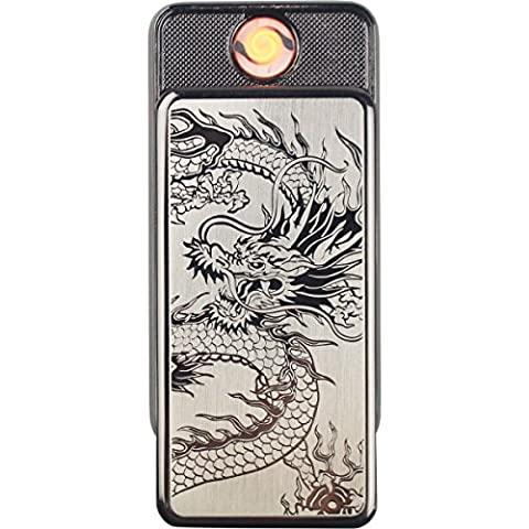 Double Y Fingerprint Touch USB Cigarette Lighter Rechargeable Flameless Windproof Electronic Lighter With Gift Box (Touch Black Dragon)