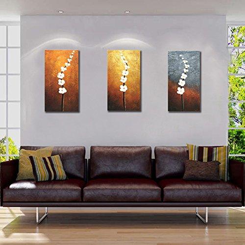 k/set 100% Handgemaltes Gemälde auf Leinwand Ölgemälde Moderne Landschaft Panorama Weiße Blumen Kirsche Baum Wandbilder Schlafzimmer Bilder für Hausdekor Wandkunst, mit Rahmen (Halloween-baum Zeichnung)