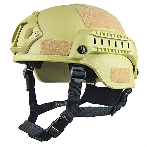 MJW Taktischer Schnell Helm, Verstellbarer ABS-Helm Mit Seitenschienen Und NVG-Halterung, Schneller Ballistischer Helm Für Airsoft-Paintball-Shooting Jagd Auf Outdoor-Sport,Green1 -