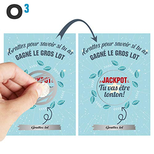 O³ Carte a Gratter Annonce Grossesse | Ticket a Gratter grossesse | Annonce Grossesse mamie, papy,...