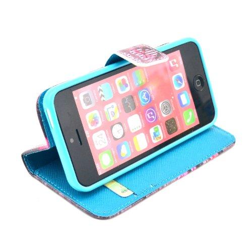 MOONCASE iPhone 5C Case Motif Conception Coque en Cuir Portefeuille Housse de Protection Étui à rabat Case pour iPhone 5C P39
