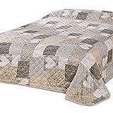 Delindo Lifestyle® Tagesdecke Bettüberwurf HERZEN / für Doppelbett / patchwork braun / 220x240 cm