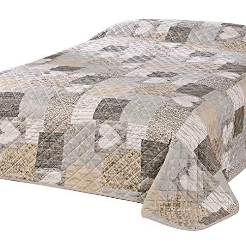 Delindo Lifestyle Couvre-lit COEUR / Jeté de Lit / pour lit double / patchwork marron / 220x240 cm
