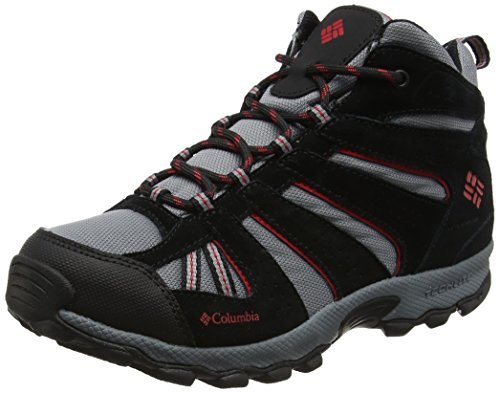 Columbia Jungen Youth North Plains Mid Waterproof Trekking- & Wanderhalbschuhe, Blau (Grey Ash/Mountiain Red), 32 EU