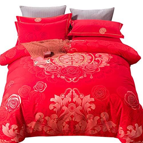 Klerokoh Einfache rote Neue Baumwollbettwäsche vierteilig (Size : Queen) -