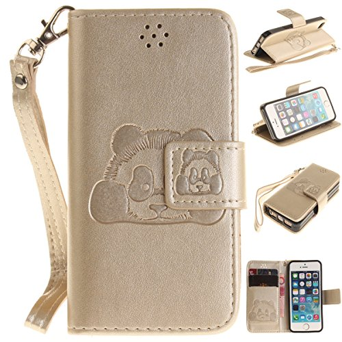 Coque iPhone SE 5SE 5 5S, Forhouse 3D Panda En Relief Flip PU Cuir Wallet Case Fonction Stand[Card Cash Slots][Dragonne]Doux TPU Interior Magnetic Closure Portefeuille Coque Bookstyle Anti-Rayures Ant D'or
