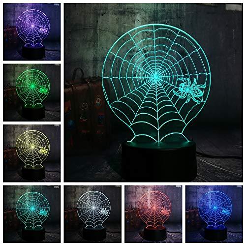 lloween Scary Scene Led Night Light Cobweb Spider Web Net Desk Lamp Horror Home Decor Kid Christmas Gift ()