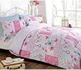 Just Contempo Butterfly Floral Patchwork Duvet Cover Set, King, Pink