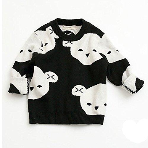 Zooarts für 1-5Jahre Kinder Jungen Mädchen tragen die Print Lange Ärmel Gestrickt Baumwolle Pullover Tops Pullover Shirt Strampler Outfit Winter Kleidung, schwarz, 100 (2T-3T) (Schwarze Strickjacke 2t)