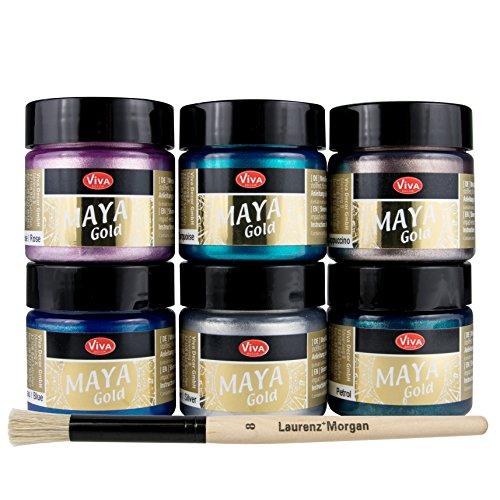 LM-Kreativ Maya Gold 6er Set von Viva Decor inkl. LM Pinsel (Sea Breeze), Metallic Metall-Glanz, Effekt-Farbe Bastel-Farbe, Deko-Farbe metallisch glänzend, 6 x 45 ml