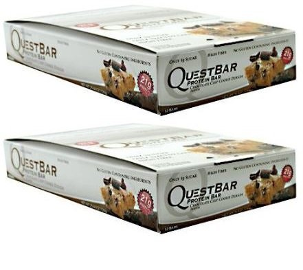 Quest Nutrition Chocolate Chip Cookie Dough Quest Bar - Pack of 12 Bars (24)