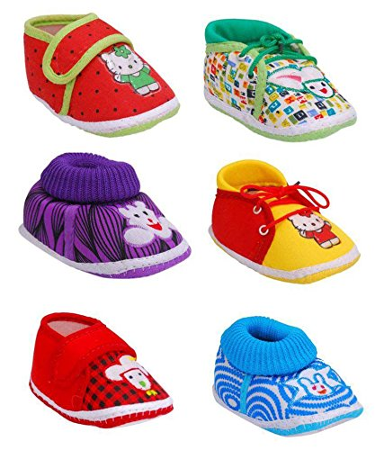 Brats N Angels Kid's Multicolor Pack Of 6 Booties -