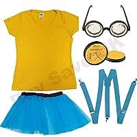 Ladies Yellow T Shirt, Face Paint, Blue Tutu Skirt, Blue Braces & Goggles Glasses Fancy Dress Costume (Women: 10)