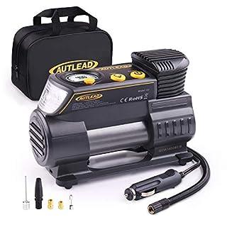 AUTLEAD Luftkompressor, 12V DC Tragbar Digitale Auto-Luftpumpe Reifen Inflator with LED-Taschenlampe, 4 Autodüsenadapter für Auto, Fahrrad, Ball - C2
