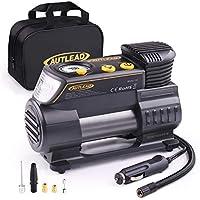 AUTLEAD Compressore Portatile Per Auto, 40L/Min 12V compressore d'aria con misuratore digitale, torcia elettrica a LED, 4 ugelli/adattatori per auto, moto, palle - C2