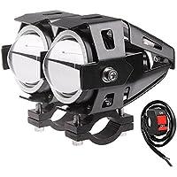 2 PCS 125W LED Motorcycle Driving LED Headlight Head Light Spotlight Fog Light Angel Eyes Light Motorcycle Headlights with Controller Blue Light
