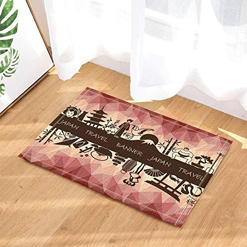 anderlust Decor Banner auf EIN Thema von Reisen zu Japan Bad Teppiche rutschhemmend Fußmatte Boden Eingänge Innen vorne Fußmatte Kinder Badematte 39,9x59,9cm Badezimmer Zubehör ()