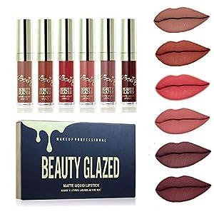 Beauty Glazed 6PCS Sexy Mate Brillo Labial, Lápiz Labial Líquido de larga Duración Hidratante Impermeable, Maquillaje Profesional para Bálsamo Labial